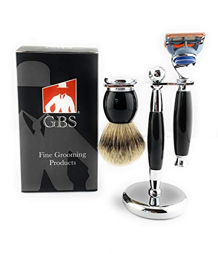 GBS Premium Shaving Gift Set - Black Handle 5 Blade Razor, Badger Bristle Brush and Chrome Stand - Ultimate Wet Shaving and Perfect to Groom Beard Includes 1 blade