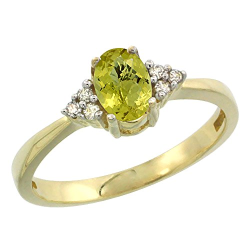 14K Yellow Gold Natural Lemon Quartz Ring Oval 6x4mm Diamond Accent, size 7
