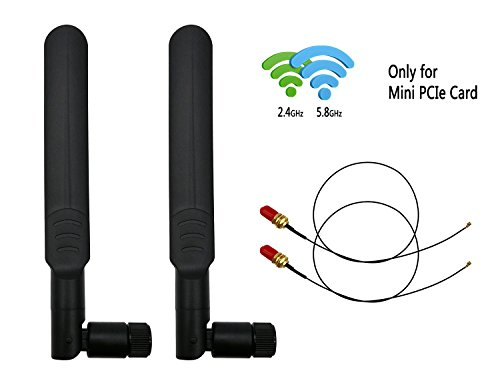 8dBi 2.4GHz 5.8GHz Dual Band Omni-directional WiFi RP-SMA Antenna + 35cm U.fl/IPEX to RP-SMA Female Pigtail Cable for Mini PCIe Card Routers Repeater Desktop PC FPV UAV Drone PS4 Build by ELT-Home