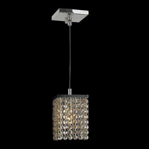 Worldwide Lighting Prism Collection 1 Light Chrome Finish and Golden Teak Crystal Square Mini Pendant 5