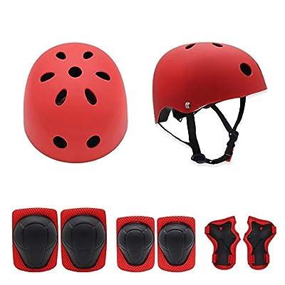 7Pcs/Set Kids Helmet Knee Elbow Wrist Pads Kit for Bike Skateboard Roller Bicycle Sports HV99 Outdoor Protector (Color : 1): Home & Kitchen