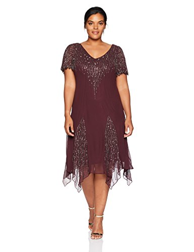 J Kara Womens Plus Size Short Beaded Dress Winemercury 18w