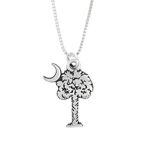 Sterling Silver Oxidized Palmetto Tree with Crescent Moon Charm South Carolina Symbol Pendant with Box Chain Necklace (16)