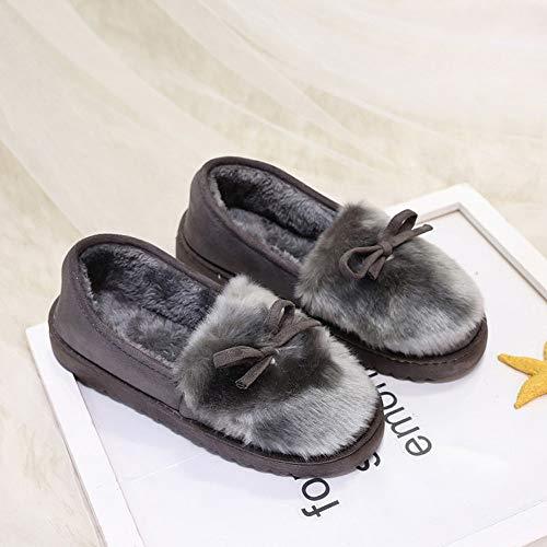 ZODOF Moda Mujer Arco Zapatos de Corte bajo Deslizamiento de Fondo Plano más Terciopelo Botas para la Nieve: Amazon.es: Ropa y accesorios