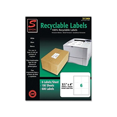 Labels, SJ Paper recyclable laser/injet labels, Self-adhesive (600/Box)