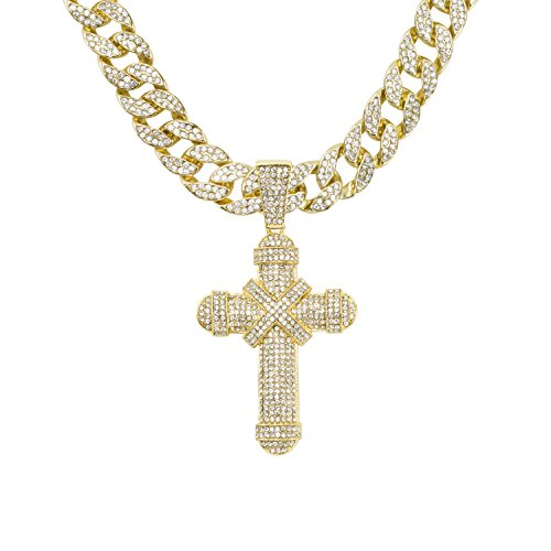 Jewelry4All Iced Out Cross Pendant on 15mm Gold Plated Cuban Link Chain Covered in Simulated Diamond Crystals ()