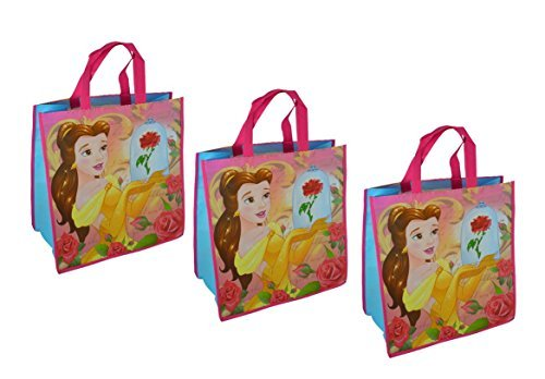 Disney's Beauty and the Beast Princess Belle Large 15.5-inch Reusable Shopping Tote or Gift Bag, 3-Pack