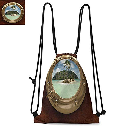 HawaiianPrinted drawstring backpackPorthole Inside Ship View of a Deserted Island Hill Cliff Tropical HolidayFor the gym W17.3 x L13.4 Inch Brown Yellow Green