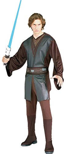 Cheap Star Wars Costumes (UHC Men's Star Wars Jedi Knight Brown Anakin Skywalker Fancy Costume, Standard (up to 44))