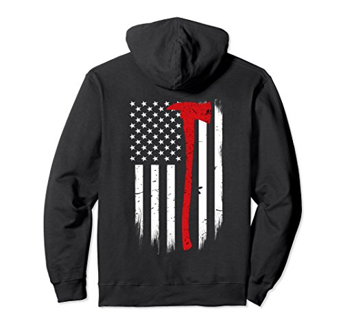 Unisex Thin Red Line Flag Axe Hoodie Firefighter Support Large Black (Firefighter Large Flag)