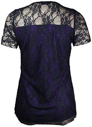 Black 56 manches Contraste Chocolate florale Femmes Taille 42 Dentelle Plus Purple courtes Pickle Tunique Hauts Nouveaux wOapBZ
