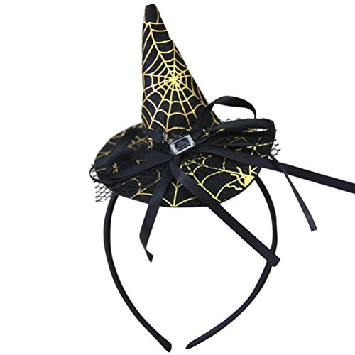 Ankola Halloween Spider Witch Hat Headband Party Props Hair Hoop Headpiece Hair Accessories (Easy Halloween Costumes For Adults Video)