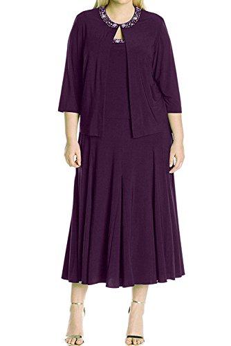 Jacke WadenWadenlang Abendkleider Damen Elegant 2017 Grape Grape Neu Partykleider Ivydressing Brautmutterkleider mit Chiffon 8P0awqq1x
