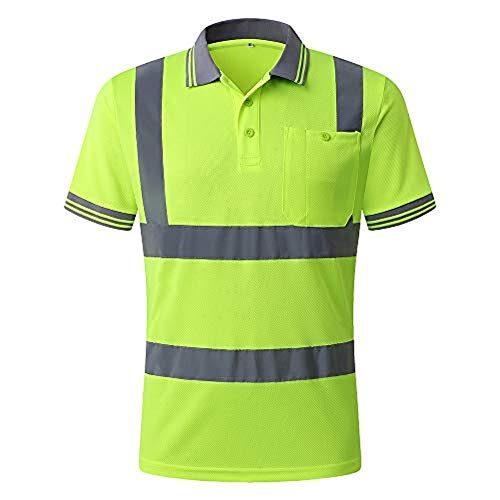 JKSafety Hi-Vis Moisture-Wicking Reflective Safety Polo Shirt(Yellow, X-Large) (Hi Vis Polo Shirts With Reflective Tape)