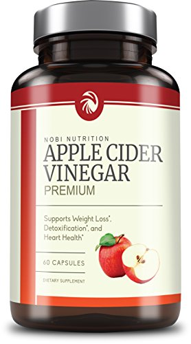 Nobi Nutrition's Apple Cider Vinegar Pills 350mg - All Natural Weight Loss, Detox, Digestion & Circulation Support - Non-GMO Cider 60 Capsules by Nobi Nutrition