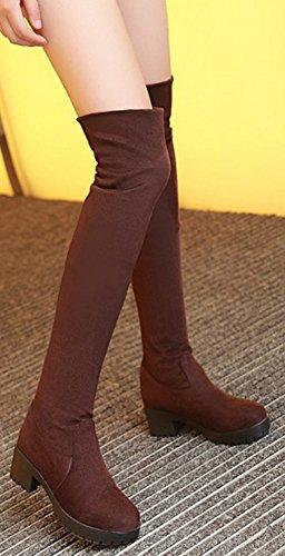 IDIFU Womens Comfy Chunky Lug Sole Thigh Over Knee High Boots Brown I21D2hzhl