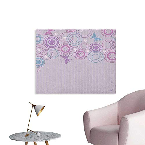 Anzhutwelve Butterfly Art Decor Decals Stickers Abstract Soft Color Background with Lovely Summer Season Animals and Circles Wall Poster Lilac Blue Pink W28 xL20