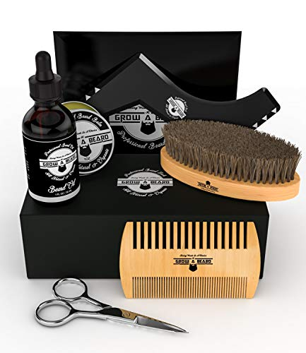 Beard Kit Multi-Functional Grooming Tool | Unique 6-in-1 Mustache & Facial Hair Care Set For Men | Natural Balm, Leave-In Oil, Boar Bristle Brush, Wood Comb, Trimming Scissors, Styling Shaper Template