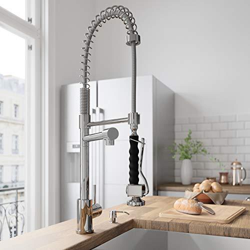 VIGO VG02007ST Zurich Single Handle Pull-Down Sprayer Kitchen Sink Faucet, Centerset Single Hole Faucet, Commercial-Style Design, Premium Chrome Finish