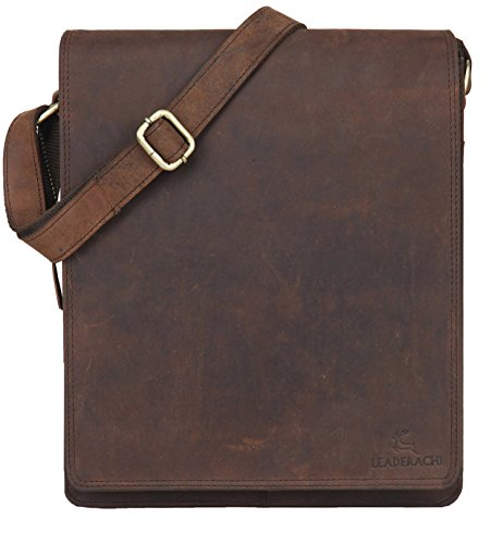 (LEADERACHI Shoulder bag crossbody bag 10 inch tablet bag leather bag in vintage style for men women)