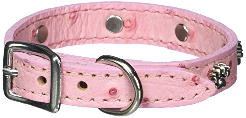 OmniPet Faux Ostrich Signature Leather Dog Collar with Paw Ornaments, Pink, 12