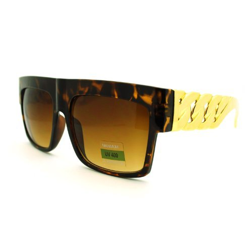 Designer Inspired Thick Gold Link Chain Flat Top Unisex Sunglasses Tortoise Brown
