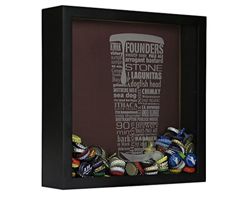 Craft Beer Typography Beer Cap Shadow Box Beer Cap Collector, Black (Box Cap Bottle Shadow)