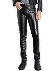 Moonwalk Men`s Faux Leather Skinny Pencil Pants 36 Black