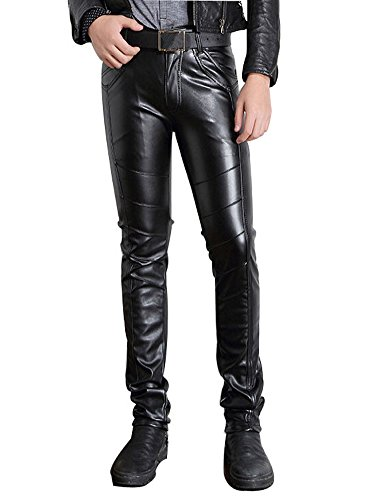 Moonwalk Men`s Faux Leather Skinny Pencil Pants 36 Black -