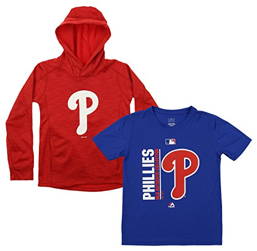 Outerstuff MLB Youth Primary Icon Hoodie and Tee Combo, Philadelphia Phillies X-Large (18)