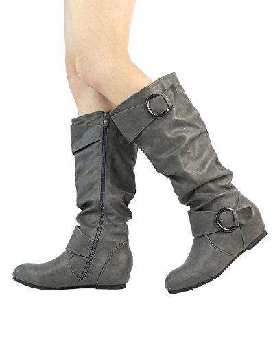 TRAUM-PAAR-Frauen Kniehohe niedrige versteckte Keilstiefel (breites Kalb verfügbar) Ura-grau