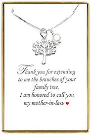 """Tree of Life Necklace, Mother in Law Gift Necklace, Sterling Silver Tree of Life Necklace 18"""" + 2"""""""