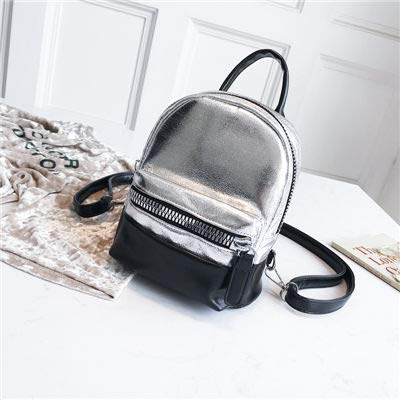 cdd25a0454 Image Unavailable. Image not available for. Color  2018 Women Panelled  Leather Backpack Dazzling Sparking Mini Backpacks for Teenager Laser Girls  ...