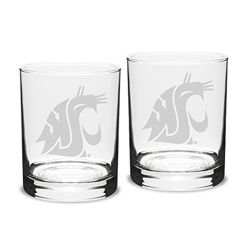 - NCAA Washington State Cougars Adult Set of 2 - 14 oz Double Old Fashion Glasses Deep Etch Engraved, One Size, Clear