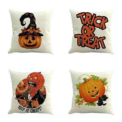 YOcheerful Halloween Pumpkin Pillow Cover 7PC Home Bed Sofa Decorative Cushion (C,45 45cm)