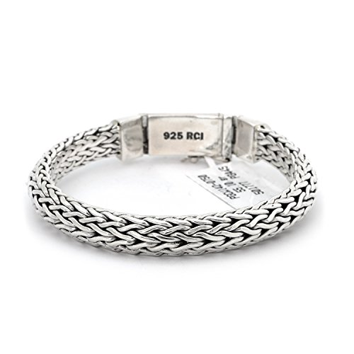 Men's Solid Sterling Silver Rhodium Plated Woven Thick Heavy Bracelet, 8.5 Inches