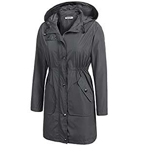 Beyove Women's Outdoor Waterproof Rain Jacket Hooded Raincoat Packable Rain Jacket Grey M
