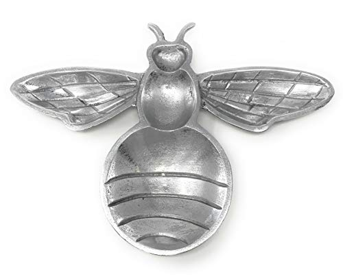 IHI Textured Aluminum Bee Serving Dish Tabletop Tray, 8 Inches Long