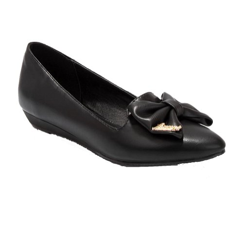 VogueZone009 Womens Closed Pointed Toe PU Soft Material Solid Flats with Bowknot Black N9ijs84NO