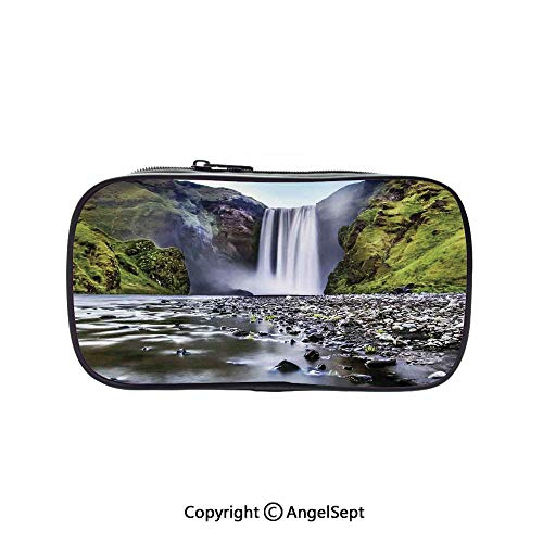 Pencil Holder with Handle Strap Handy Colored,Skogafoss Waterfall
