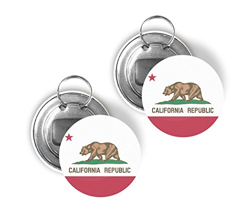 - California CA USA State Two Pack of Flag Beer Bottle Opener Keychain Buttons 2.25-inch Round Californian