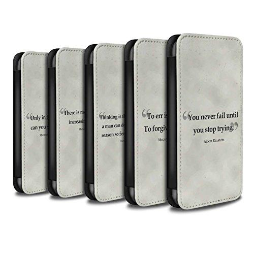 Stuff4 Coque/Etui/Housse Cuir PU Case/Cover pour Apple iPhone 8 Plus / Pack 9pcs Design / Citations Célèbres Collection