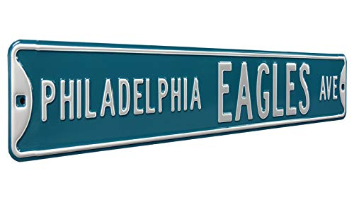 Fremont Die NFL Philadelphia Eagles Ave, Metal Wall Decor- Large, Heavy Duty Steel Street Sign - Football Wall Decor for Dorm Room Decorations, Man Cave Decor, Office and Gifts