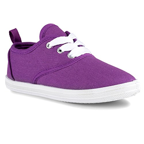 Sugar & Spice Girls Canvas Fashion Sneaker, Lace up, Breathable, Rubber Sole, 12 M Little Kid, - Purple Shoes Girl Dress Little