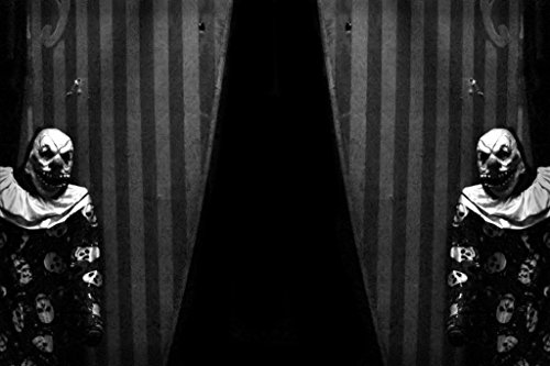 Scary Clown Picture (Carnival Curtains with Creepy Clown B&W Photo Art Print Poster 18x12)