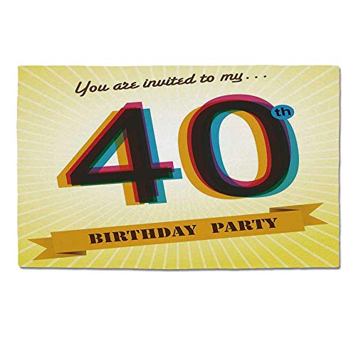 YOLIYANA 40th Birthday Decorations Durable Door Mat,Vintage Graphic Banner Party Invitation Theme Optical Striped for Home Office,One Size