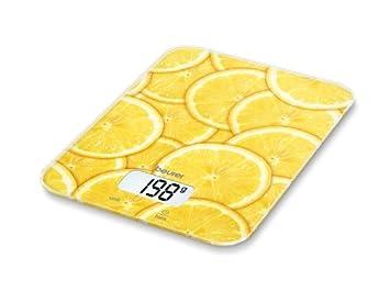 Beurer KS 19 - Balanza de cocina, 5 kg/1 gr, botón táctil, diseño rodajas limón: Amazon.es: Hogar