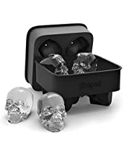 3D Skull Ice Mold Tray, Super Flexible High Grade Silicone Ice Cube Molds for Whiskey, Cocktails, Beverages, Iced Tea & Coffee, Black (Skull - Makes 4) - by Shaped