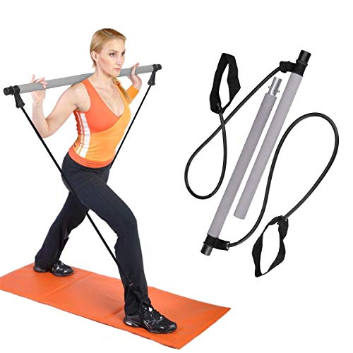 """41sakFXIJnL. SS500 El palo de Pilates multifuncional se conoce como el """"gimnasio de mano"""". Tiene funciones similares a las barras, tensores, máquinas de torsión, máquinas de remo y otros equipos de ejercicio; ejerciendo plenamente su función, puede ejercitar Puedes hacer varias acciones de entrenamiento, puedes reemplazar una barra para ejercitar los músculos de la espalda y del brazo, puedes reemplazar una cuerda de tirar para ejercitar los músculos de las piernas, puede ejercitar la cintura y el abdomen mediante acciones de torsión de la cintura. La barra es de 3,8 cm de diámetro y está hecha de acero de alta calidad envuelto con un agarre de espuma suave para mayor comodidad. Los cables de alimentación de banda de resistencia son de 9 mm con grandes pasadores de nailon."""