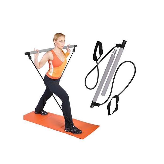 """41sakFXIJnL El palo de Pilates multifuncional se conoce como el """"gimnasio de mano"""". Tiene funciones similares a las barras, tensores, máquinas de torsión, máquinas de remo y otros equipos de ejercicio; ejerciendo plenamente su función, puede ejercitar Puedes hacer varias acciones de entrenamiento, puedes reemplazar una barra para ejercitar los músculos de la espalda y del brazo, puedes reemplazar una cuerda de tirar para ejercitar los músculos de las piernas, puede ejercitar la cintura y el abdomen mediante acciones de torsión de la cintura. La barra es de 3,8 cm de diámetro y está hecha de acero de alta calidad envuelto con un agarre de espuma suave para mayor comodidad. Los cables de alimentación de banda de resistencia son de 9 mm con grandes pasadores de nailon."""